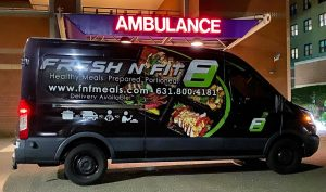 FNFMeals Van in front of St. Charles Hospital